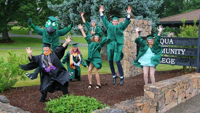 2020 Commencement jumping graduates