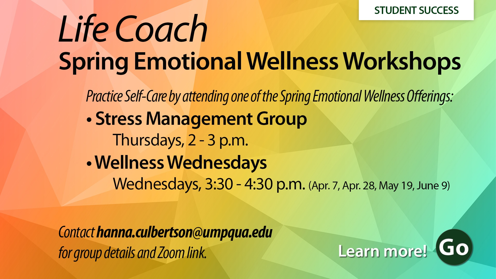 Life Coach Wellness Workshops spring