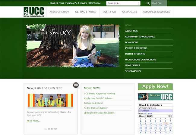 UCC Website Home Page