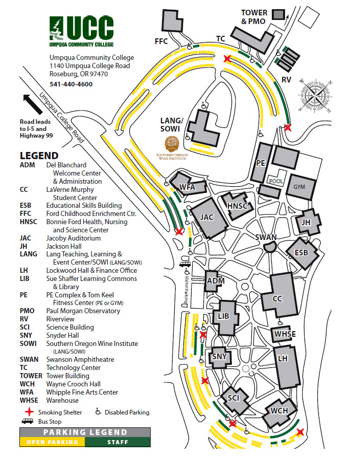 Umpqua Oregon Map.Parking Umpqua Community College