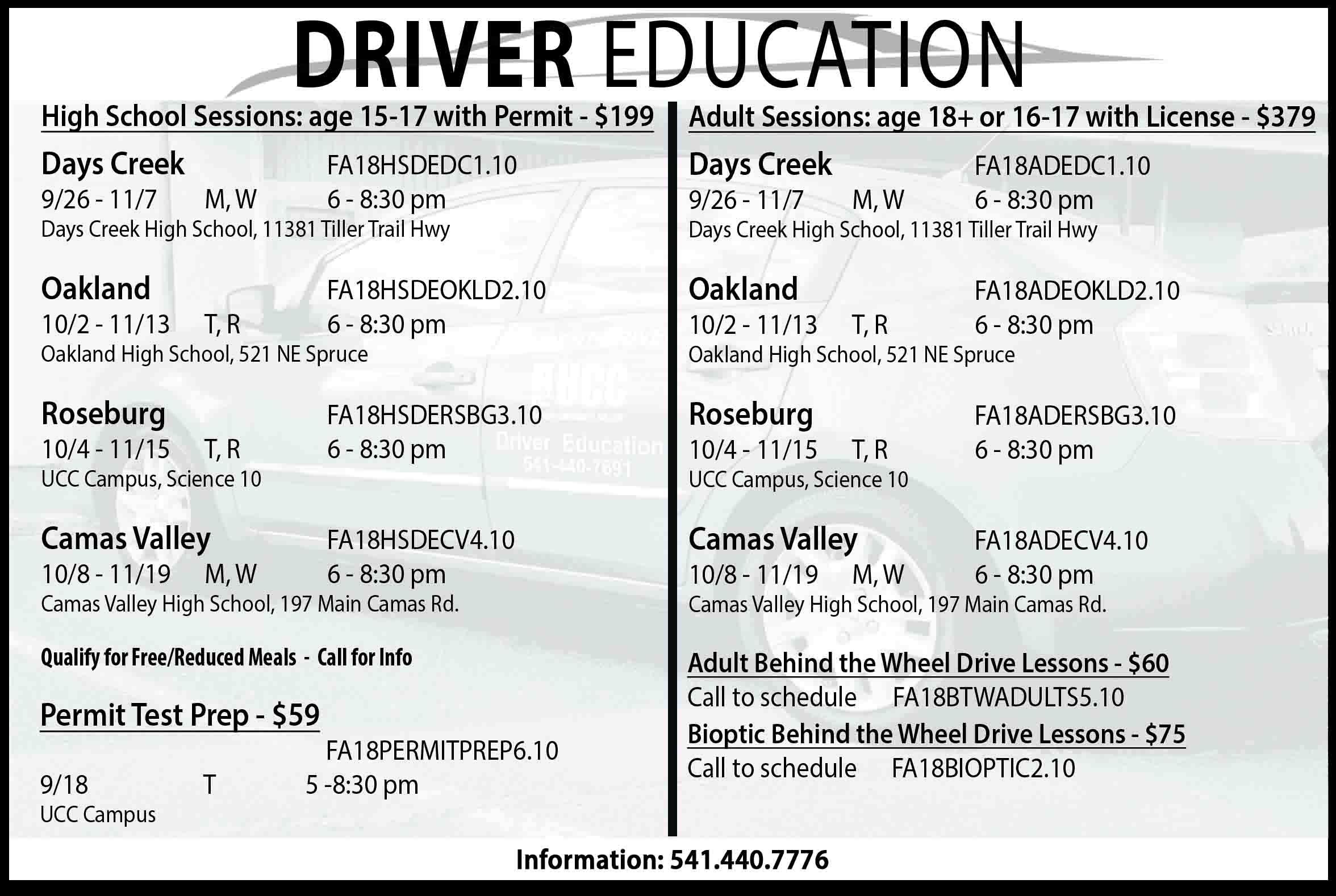 Drivers Education Umpqua Community College