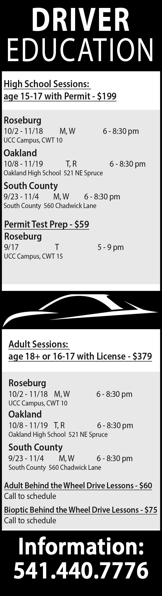 Drivers Education - Umpqua Community College
