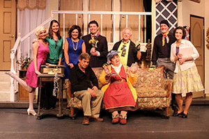 The cast of Noises Off with Stephanie Newman