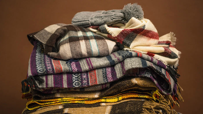 Blankets, scarves, and hat